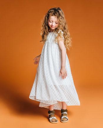 Chiffon Maxi Dress Popcorn White Style