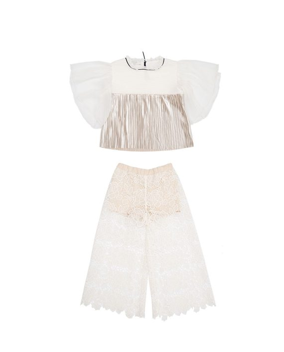 Lace Culottes Desert Sky and Top Chicory Gold