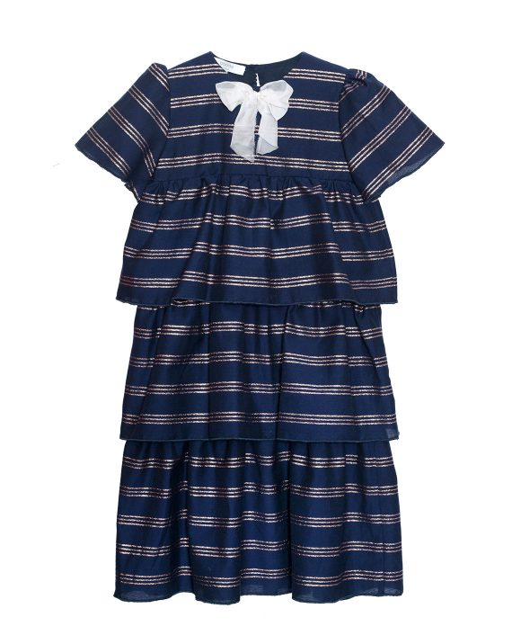 Crepe Maxi Dress Dorothy Blue with Bow