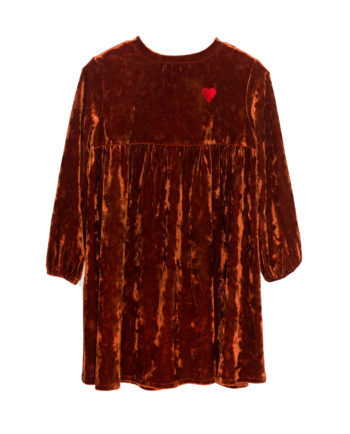 Velvet Tunic Matilda with Embroidery Bronze