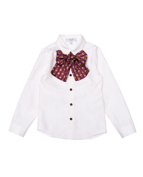 Cotton Shirt Tom With Purple Bow