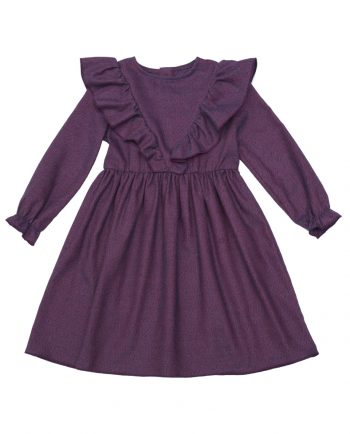 Flannel Cotton Dress Poplar Purple