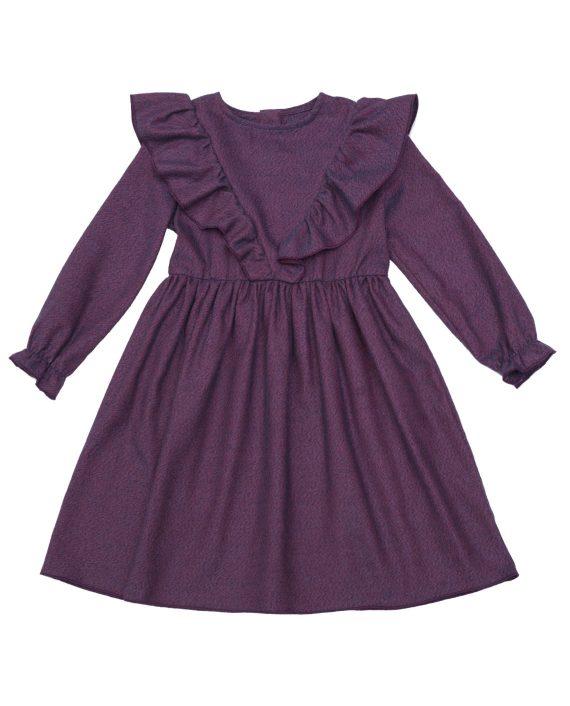 Flannel Cotton Dress Poplar Purple