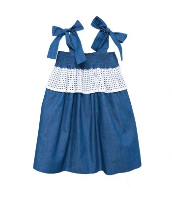 Denim Dress Mer with Bows