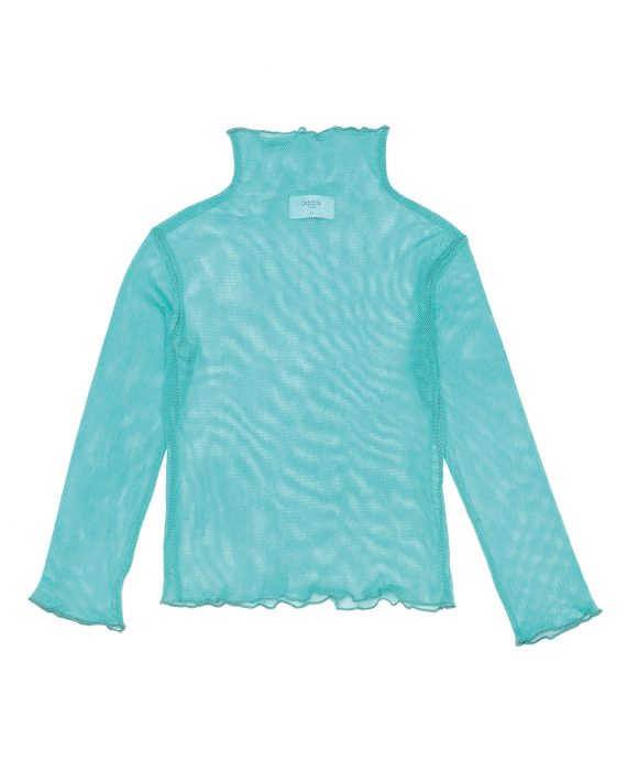 Organic cotton Tulle Turtleneck Yoko Mint is the must-have, fun piece of clothing of the season. Wear it under a dress, blouse or sweater to have the fun, contrasting mesh frills peek out.