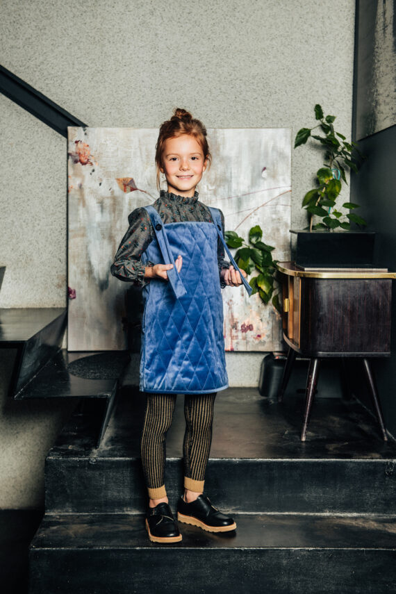 Quilted Velvet Pinafore Huston Blue